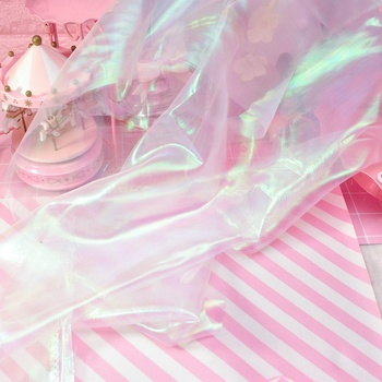 75*75Cm Fluorescent Fabrics Colorful Shiny Gauze Fabric Stage Wedding Decor Voile Transparent Holographic Fabric