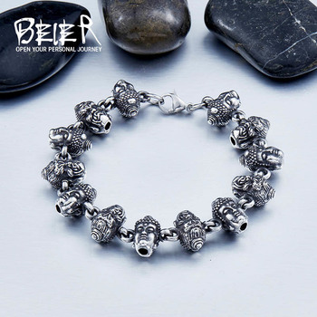 BEIER New Design Man's Stainless Steel Buddha Head Bracelet Fashion Man`s Jewerly BC8-032