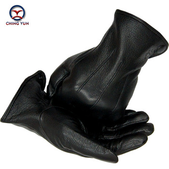 Winter man deer skin leather gloves male warm soft men's Arm sleeve black men mittens imitate rabbit fur 70% wool lining-02
