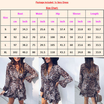 New Women Leopard Print Dress Snake Skin Print Flare Sleeve V Neck Mini Dress Women Dresses Evening Party Clothes Ladies Dresses