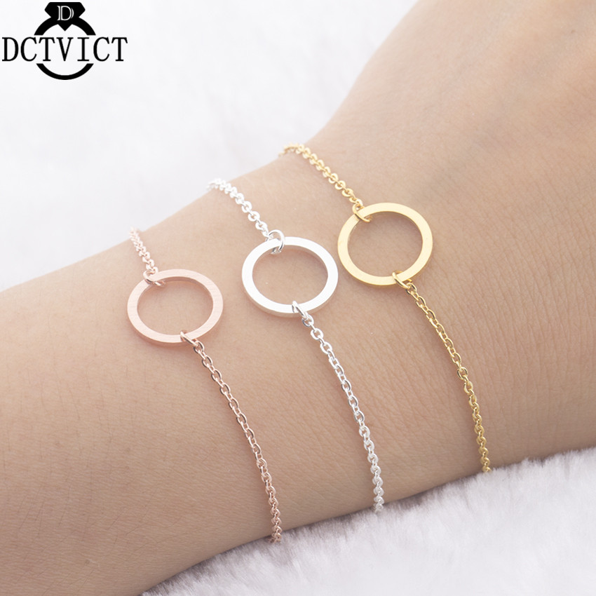 GORGEOUS TALE 10PCS Trendy Stainless Steel Circle Bracelet For Women Girls Jewelry Geometric Open Round Pulseira Feminina Bijoux